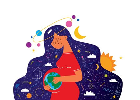Happy pregnancy and cute pregnant woman. Vector illustration of woman expecting for a baby and space. Flat cartoon vector illustration Vectores