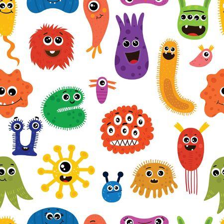 Modèle sans couture avec différents personnages de dessins animés de micro-organismes. Toile de fond amusante de bactéries, protistes, microbes, virus. Illustration de vecteur plat de couleur vive isolée sur fond Vecteurs