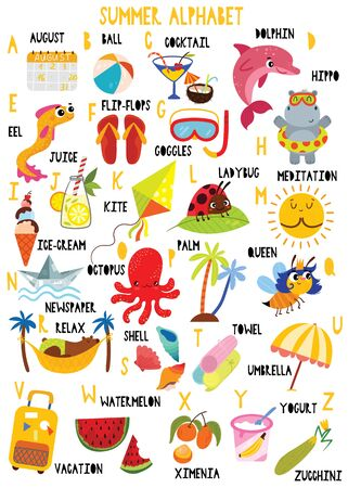 Alphabet d'été élégant en vecteur. Beaux animaux et objets. Meilleure affiche abc dans un style coloré pour l'éducation des enfants et l'étude des langues.