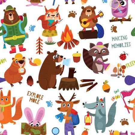 Camping nahtlose Vektormuster mit Cartoon-Tieren im Wald und Campingausrüstung Design für Textilien, Texturen, Kindertapeten, Stoff, Kleidung. Vektorgrafik