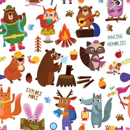 Camping seamless vector pattern with cartoon animals in the forest and camping equipment Design for textiles, textures, children's wallpaper, fabric, clothes. Vecteurs