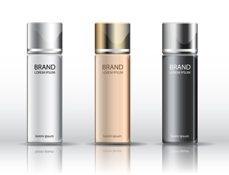 Realistic cosmetic bottle set. White, Black, Gold, Silver 向量圖像