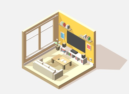 low section: isometric low poly living room cutaway icon. Room includes sofa, coffee table, tv, sound and other furniture Illustration