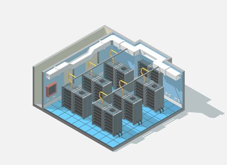 low section: isometric low poly bit coin cryptocurrency mining block chain data center cutaway icon. Computer Administration room includes server and cables