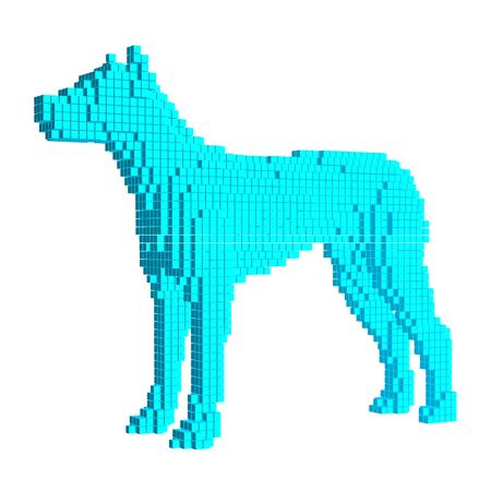 Voxel Blue Dog. 3D Pixel illustration. Isolated on white background. Cube design Ilustração