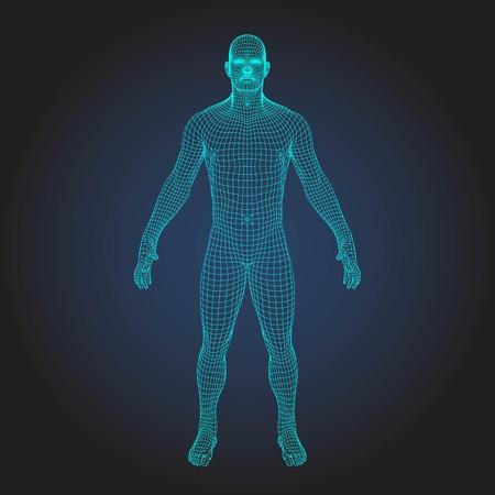 Corps humain filaire dans la réalité virtuelle. Modèle 3D médical imprimé bleu d'impression. Conception de technologie polygonale