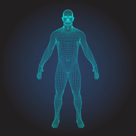 Wireframe human body in virtual reality. Medical blue print scanned 3D model. Polygonal technology design