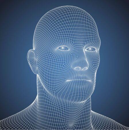 Wire frame blueprint human head portrait illustration Ilustrace