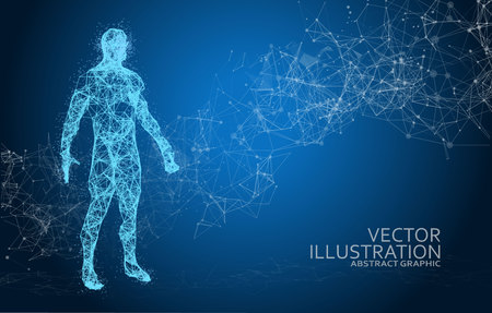 Abstract Polygonal Space Background with Connecting Dots and Lines on Blue Background Ilustração