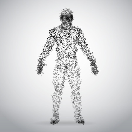 Abstract Dotted human body on white background. Vector Illustration