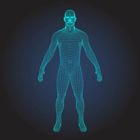 3D wireframe human body 免版税图像 - 93412890