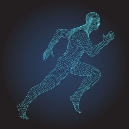 Wire frame human full body in virtual reality. Medical blue print scanned 3D model. Polygonal technology design. Sprinter Running figure