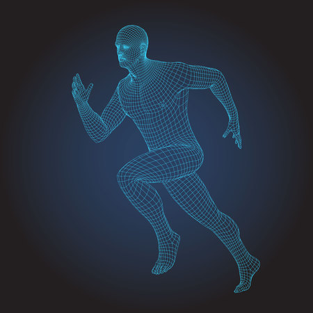 3D wire frame human body. Sprinter Running figure