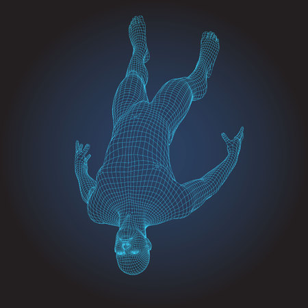 3D wire frame human body. Jumping Fall figure Illustration