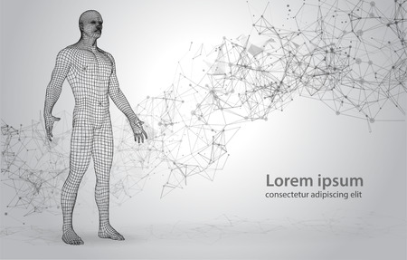 3D Polygons Human on Abstract Space Background with Connecting Dots and Lines