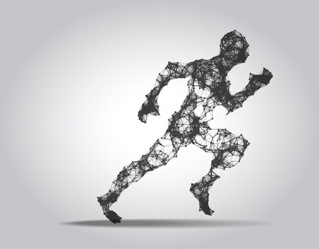 Polygonal Running man figure on white background