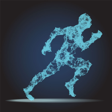 Abstract Polygonal Running man figure on dark background