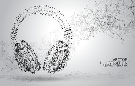 Abstract dotted headphones on white abstract polygonal background