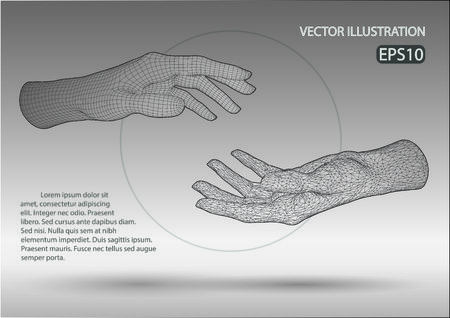 A Vector wire frame hands isolated on plain background.