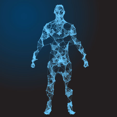 Low poly wireframe Human Body Abstract Illustration