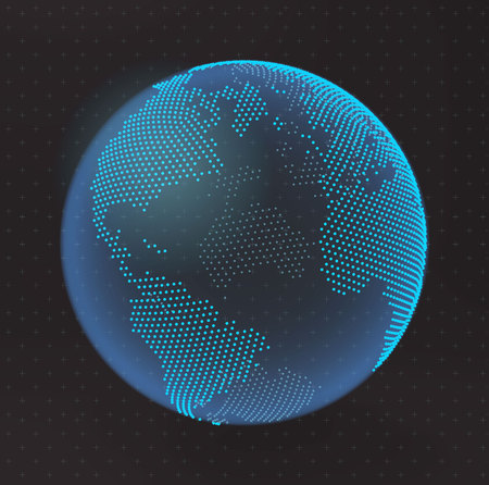 Dotted earth illustration  isolated on dark background.
