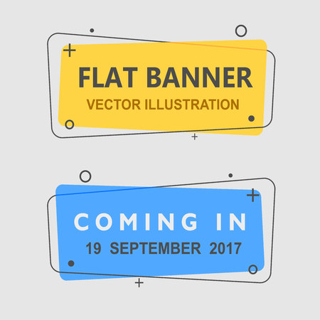 Set of flat geometric vector banners. Vintage colors and shapes. Yellow and blue banner design