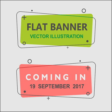Set of flat geometric vector banners. Vintage colors and shapes. Green and Red banner design Ilustração