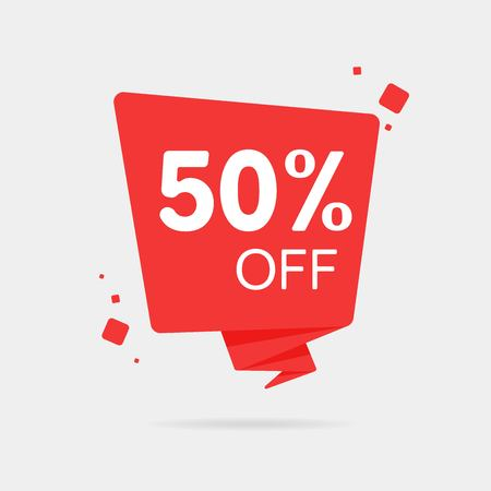 Special offer sale red tag isolated vector illustration. Discount offer price label, symbol for advertising campaign in retail, sale promo marketing, 50 off discount sticker, ad offer on shopping day Ilustração