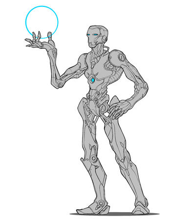 Robotic humanoid  Line art vector illustration