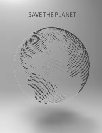 3D abstract planet, dots, representing the global, international meaning. Vector Earth. Save the Planet. North America, Africa and Atlantic Ocean