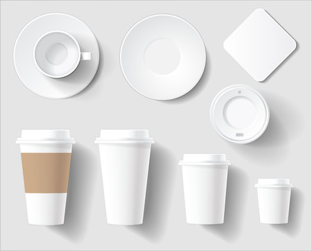Set of Empty White Coffee Brand Cups. Vector Illustration of plastic and ceramic cups different sizes and saucer. Top and Side view
