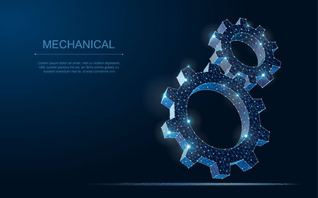 Abstract vector wireframe two gear 3d modern illustration on dark blue background. Mechanical technology machine engineering symbol.