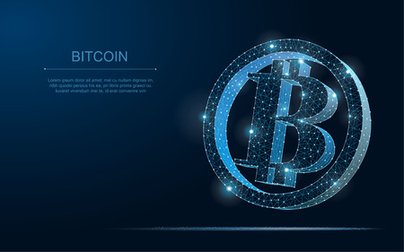 Wireframe bitcoin mesh from a starry on blue background.