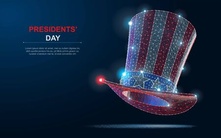 Happy President s day design background with Uncle Sam hat