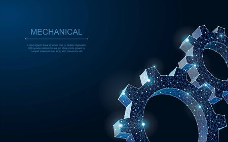 Abstract vector wireframe two gear 3d modern illustration on dark blue background