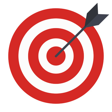 Flat Icon Design. Target with arrow, Goal achieve concept. Vector illustration isolated on white background