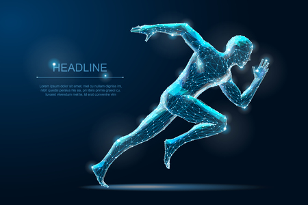Homme en cours d'exécution géométrique filaire 3d pligonal. Sport de vitesse