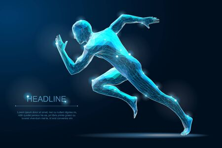 Sport Run Man. Sprinter illustration. Start moving pose