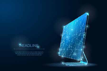 Polygonal Low poly desktop monitor. IT Symbol of digital and Internet. Lines and Dots Ilustração