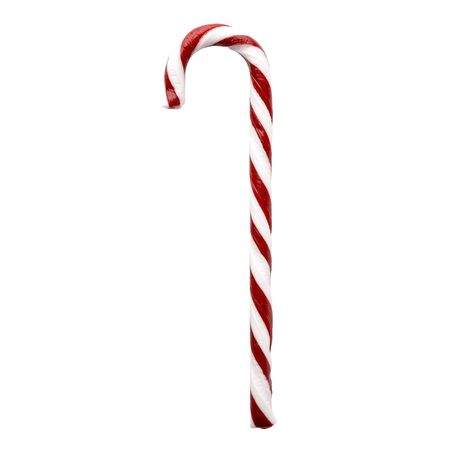 Christmas candy cane isolated on white background. Red and white striped peppermint candy