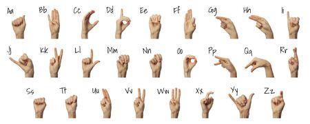 Alfabeto di ortografia del dito nella lingua dei segni americana su priorità bassa bianca. Concetto ASL Archivio Fotografico