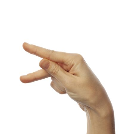 Finger spelling letter P in American Sign Language on white background. ASL concept 版權商用圖片