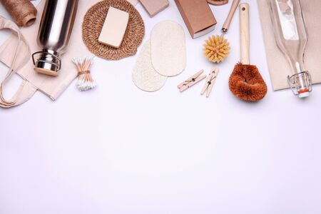 Frame made of eco-friendly objects on white background. Composition with zero waste products. Top view with place for text