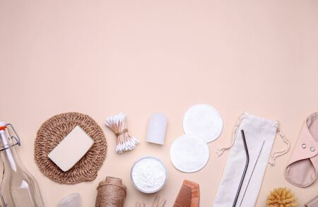 Frame made of eco-friendly objects on white background. Composition with zero waste products. Top view