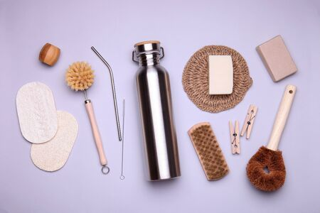 Eco-friendly kit on color background. Composition with zero waste objects. Top view 版權商用圖片