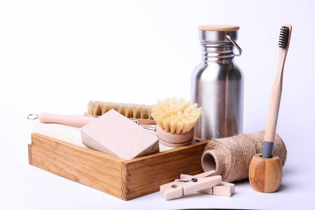 Eco-friendly kit on white background. Composition with zero waste objects