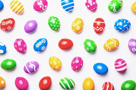 Flat lay composition made with Easter eggs on light background. Top view 版權商用圖片