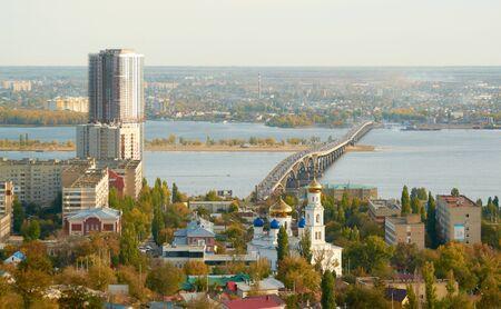 volga river: Saratov Engels bridge over the Volga river Stock Photo