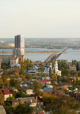 volga: Saratov Engels bridge over the Volga river Stock Photo