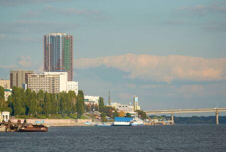 volga river: Saratov quay and bridge on the Volga river Stock Photo